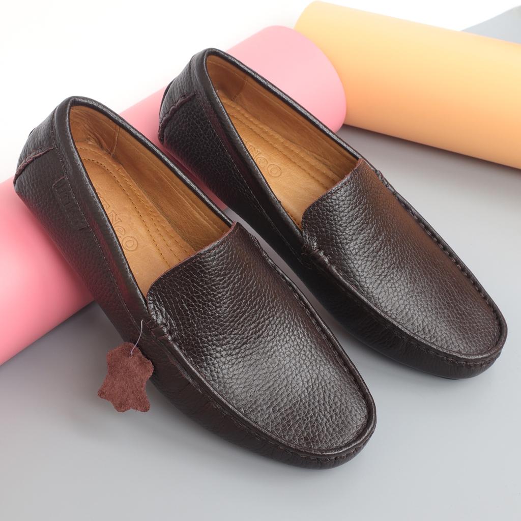 Giày mọi nam da bò đẹp vân hạt màu nâu