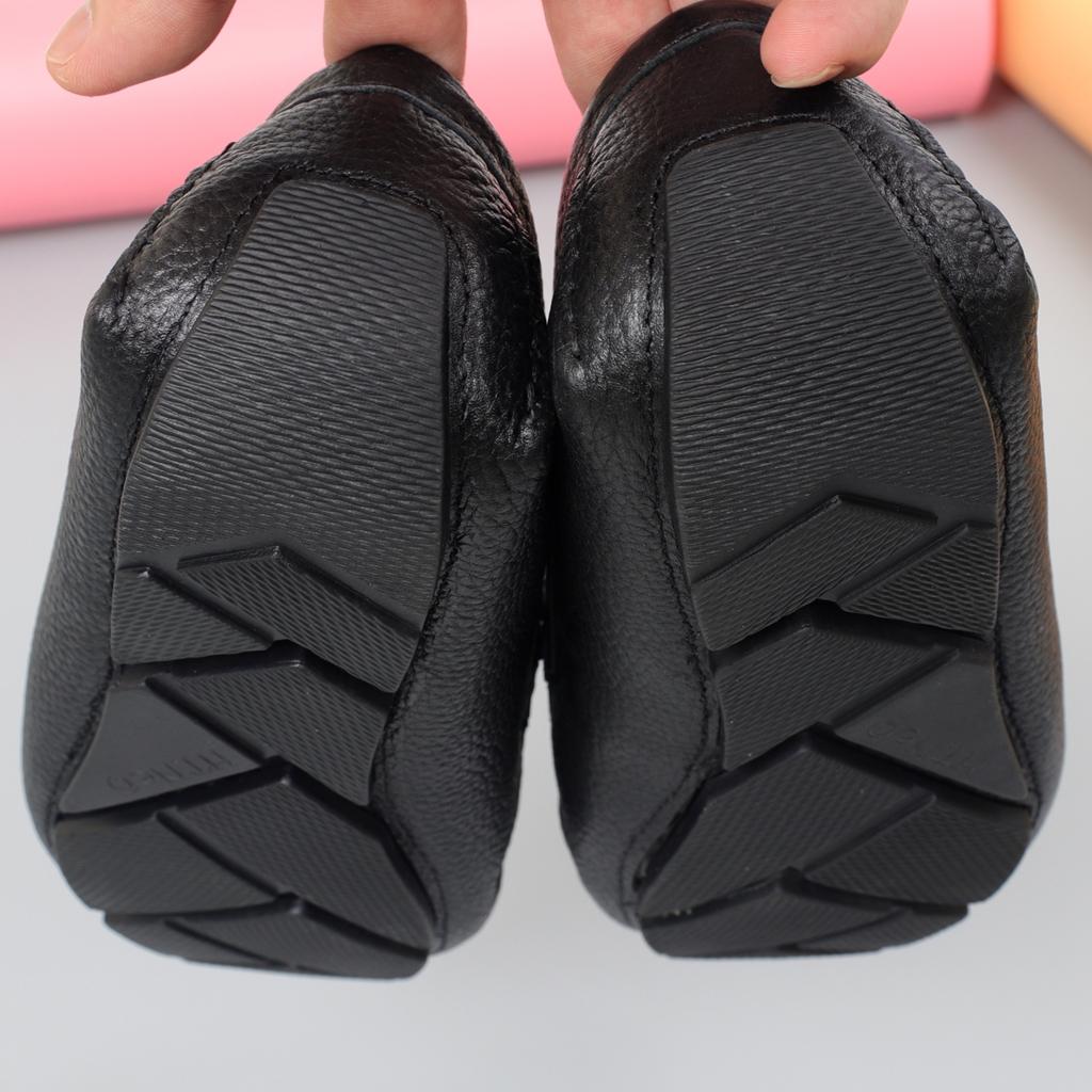 Giày mọi nam đẹp, da bò vân hạt màu đen