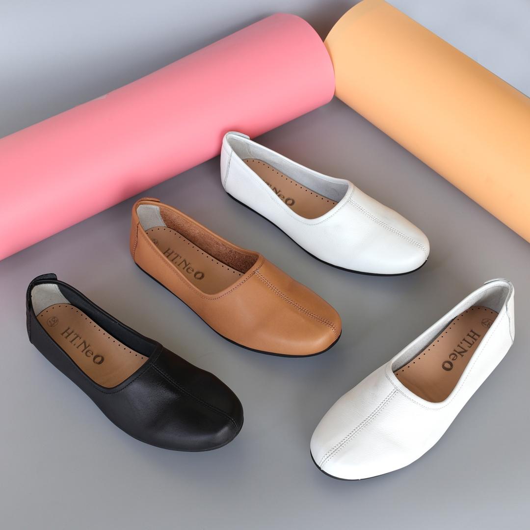 Giày Slipon nữ da thật - Ba màu Đen, Trắng, Vàng bò