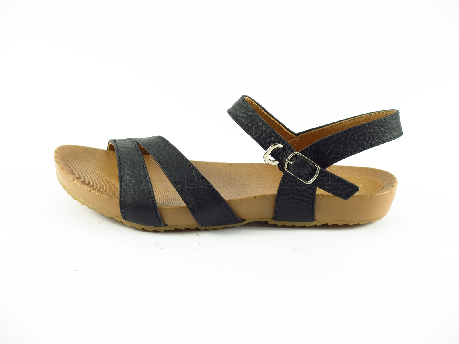 Sandal bệt nữ, quai vắt chéo, màu đen