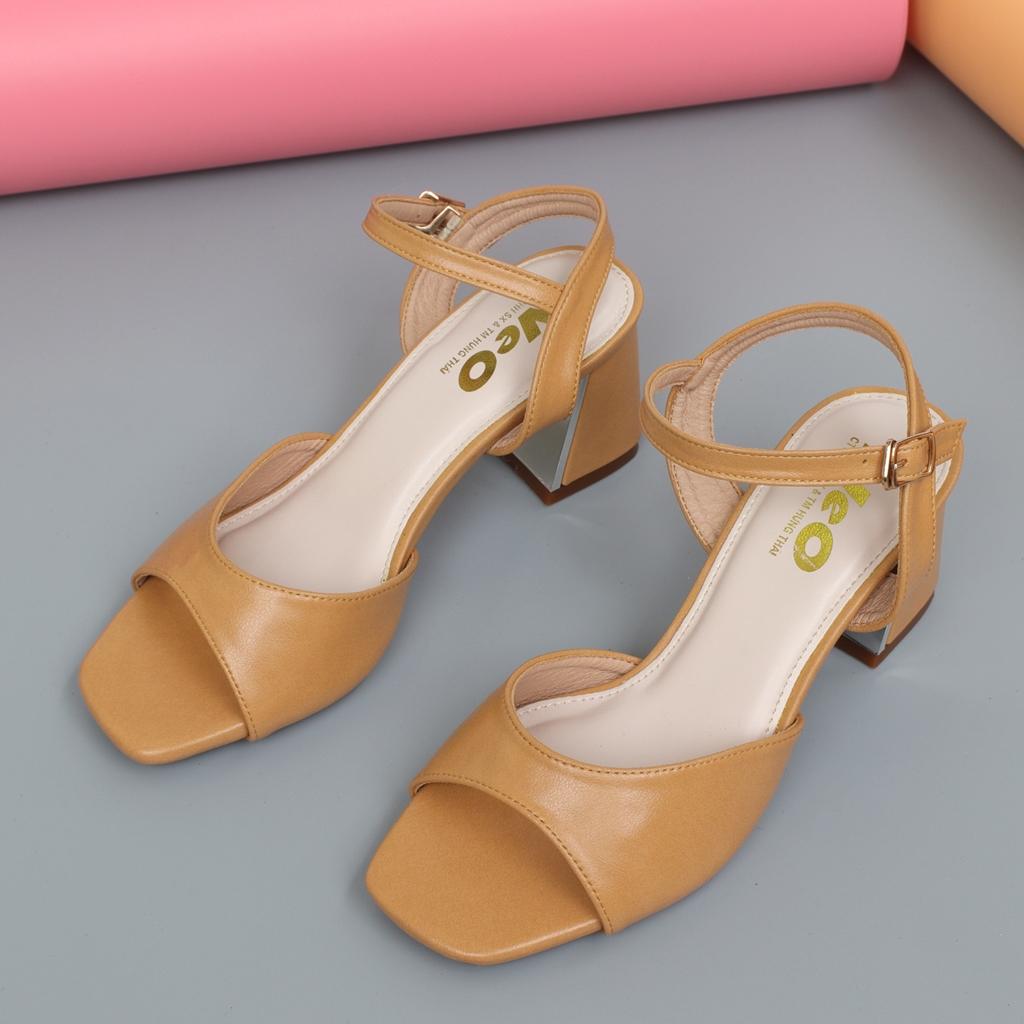 Sandal nữ cao 5p màu bò