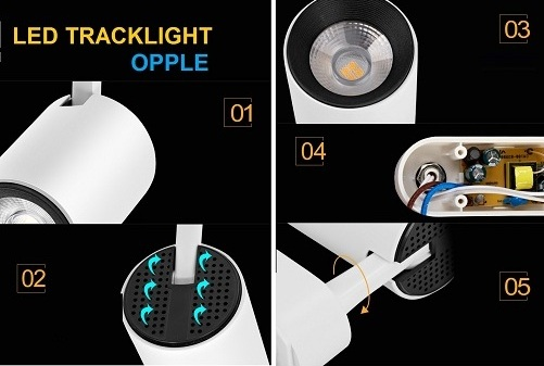 Cấu tạo đèn led rọi ray 7W Opple