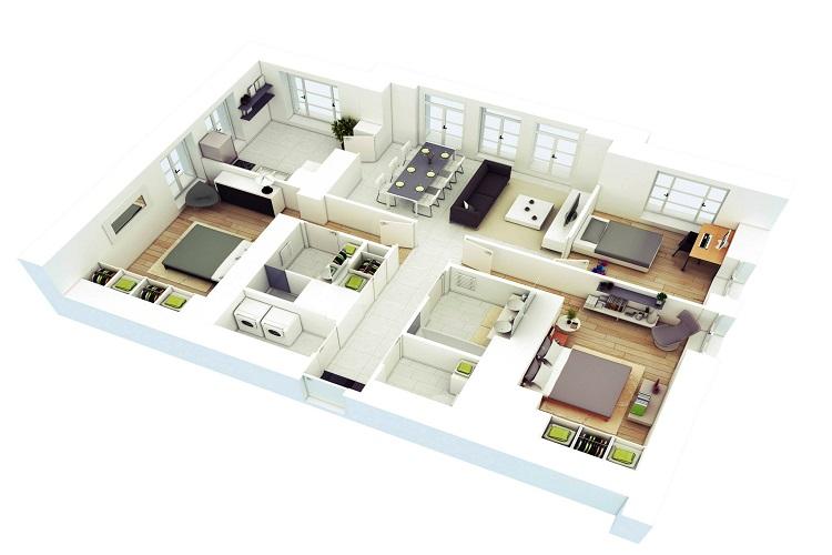 Mẫu căn hộ diện tích lớn, không gian sáng sủa thoáng mát