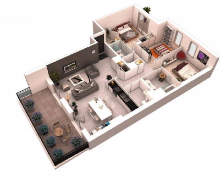 Mẫu căn hộ 3 phòng ngủ có ban công lớn