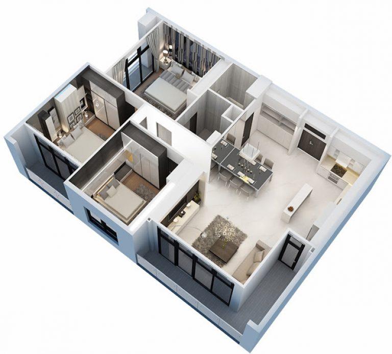 Mẫu căn hộ 3 phòng ngủ sang trọng, hiện đại