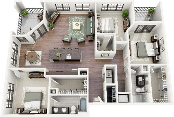 Mẫu căn hộ 3 phòng ngủ hiện đại