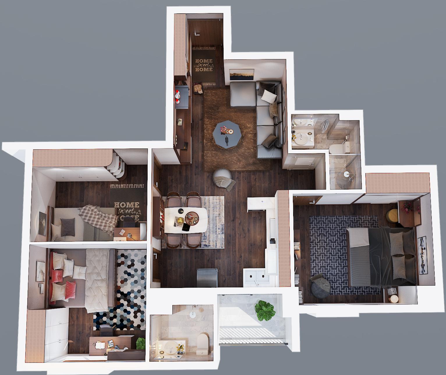 mặt bằng tổng thể căn hộ 90m2 3 phòng ngủ