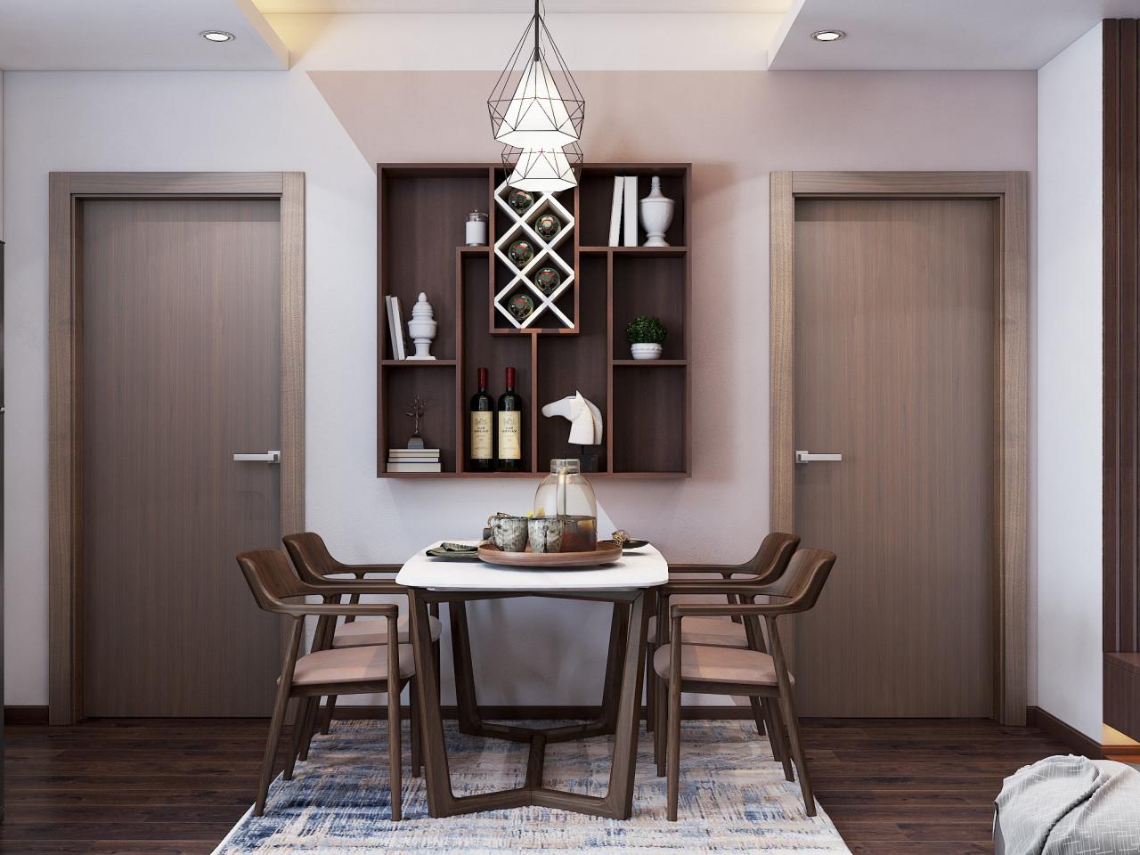Bàn ăn được đặt giữa phòng, bố trí cân đối với các đồ nội thất trong không gian căn hộ