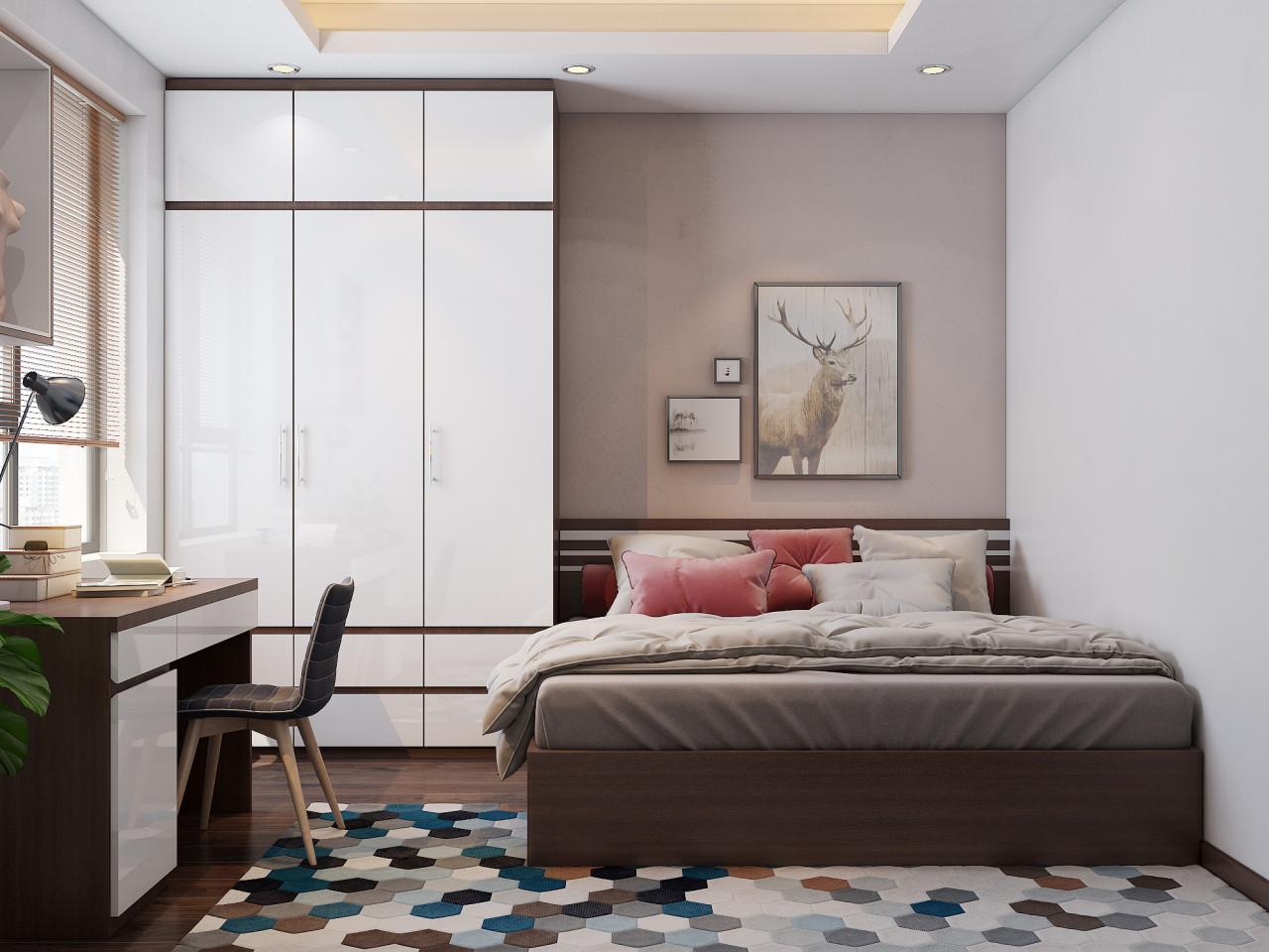 Phòng ngủ lớn thiết kế theo tông màu trắng pha xám ghi, tạo cảm giác nhẹ nhàng, nhã nhặn cho phòng bé gái