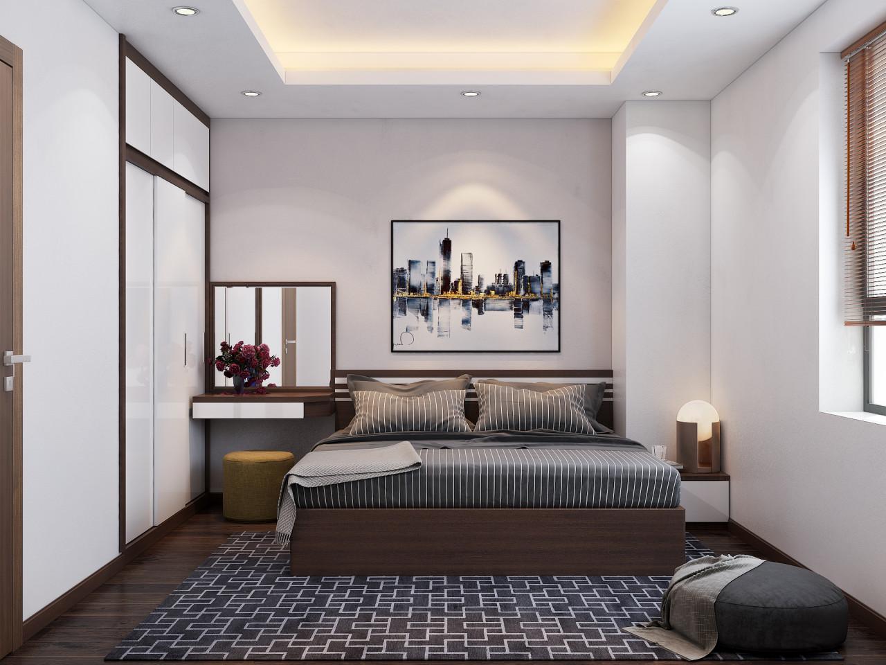 Phòng ngủ Master được thiết kế tối giản với tông màu xám ấn tượng