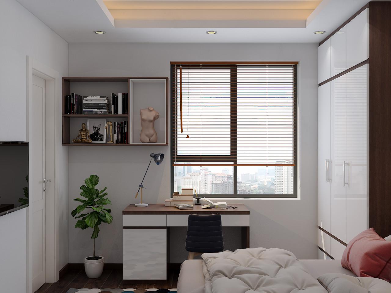 Kệ sách trang trí cũng treo tường, tinh giản và sáng tạo.