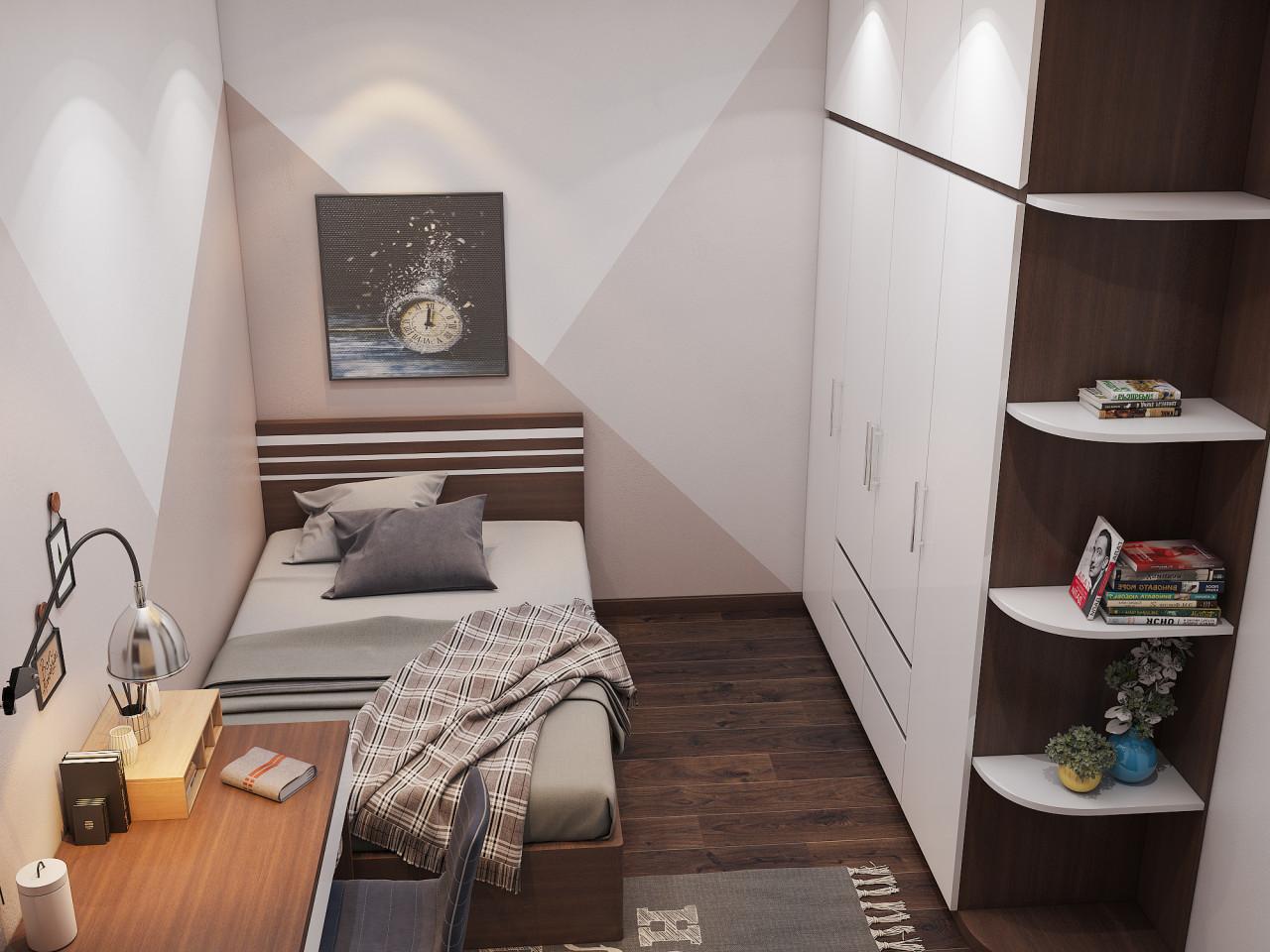 Phòng ngủ nhỏ cho khách theo phong cách đơn giản, tối ưu nội thất trong phòng