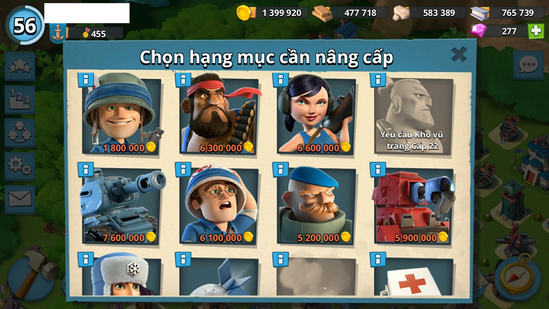 P025) Boom beach level 56, Name change : Available, Power powders 651