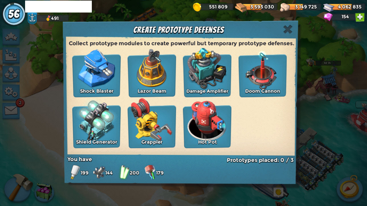 T005) Boom beach level 56 (~57), Name change : Available, Power powders 534, GB 42