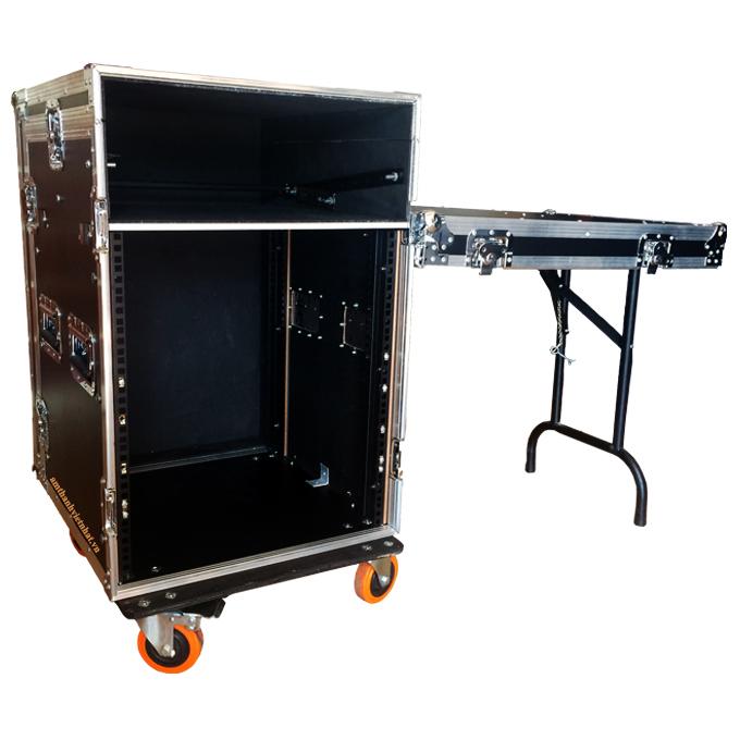 Tủ thiết bị âm thanh 16U liền Mixer có chân bàn để cạnh