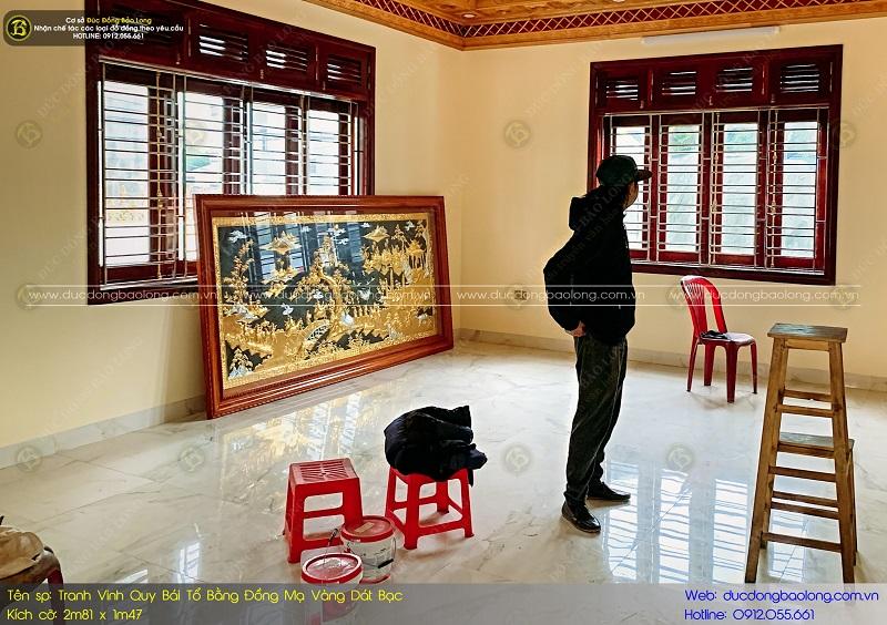tranh mạ vàng 24k bằng đồng cho phòng khách