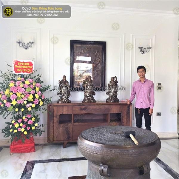 Giao bộ tượng Tam Đa bằng đồng 61cm khảm cho khách Hải Phòng