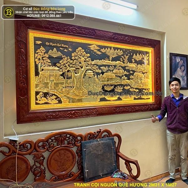 Lắp đặt 2 bức tranh đồng cho khách tại đường Chiến Thắng, Hà Đông