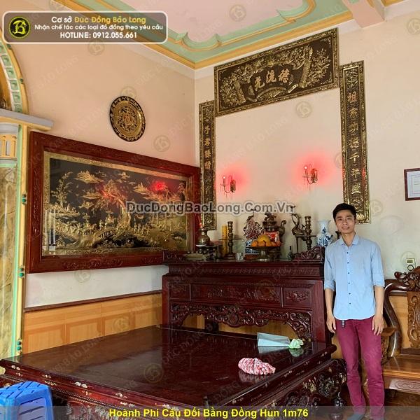 Lắp đặt hoành phi câu đối bằng đồng hun 1m76 cho khách Phú Thọ
