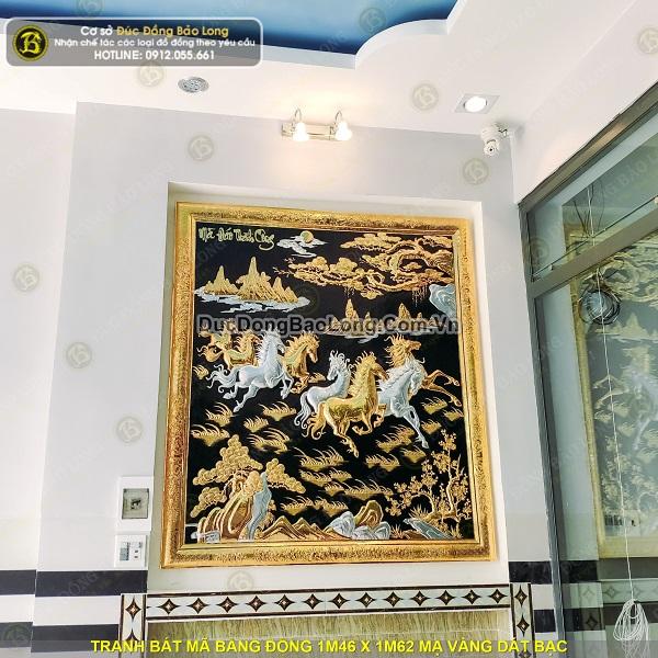 Lắp đặt tranh bát mã bằng đồng 1m46 x 1m62 cho khách tại Bình Tân