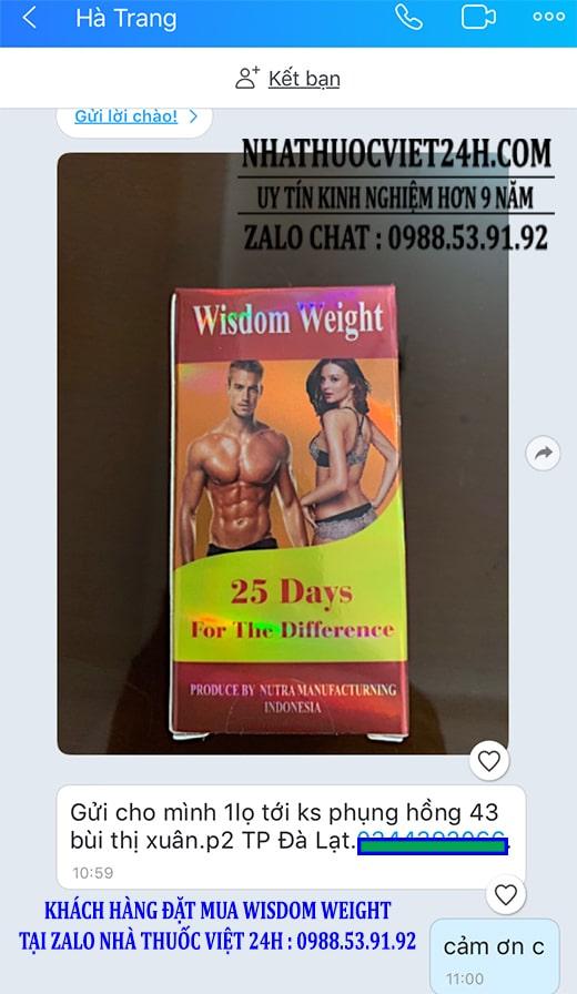 phản hồi dùng wisdom weight