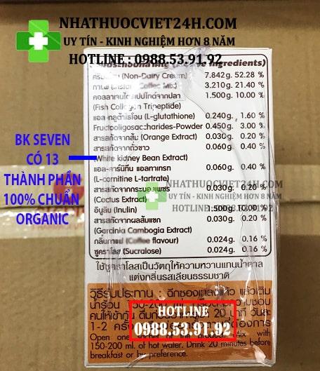 CAFE GIẢM CÂN BK SEVEN CHÍNH HÃNG THÁI LAN