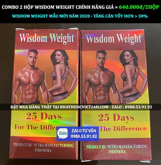COMBO 2 HỘP THUỐC TĂNG CÂN WISDOM WEIGHT CHÍNH HÃNG