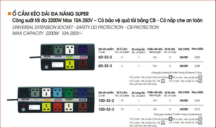 Ổ Cắm Kéo Dài Đa Năng Super LiOA 10D-S3-2
