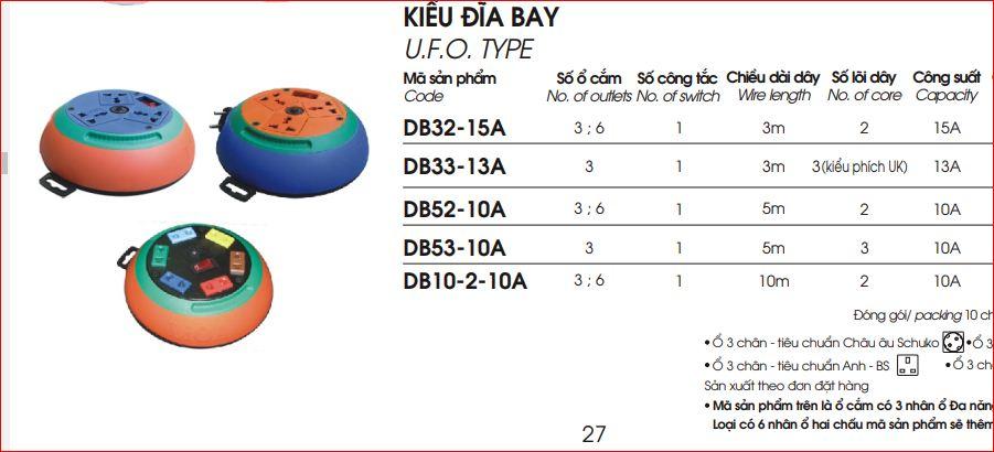 Ổ Cắm Kéo Dài Quay Tay LiOA Kiểu Đĩa Bay DB10-2-10A