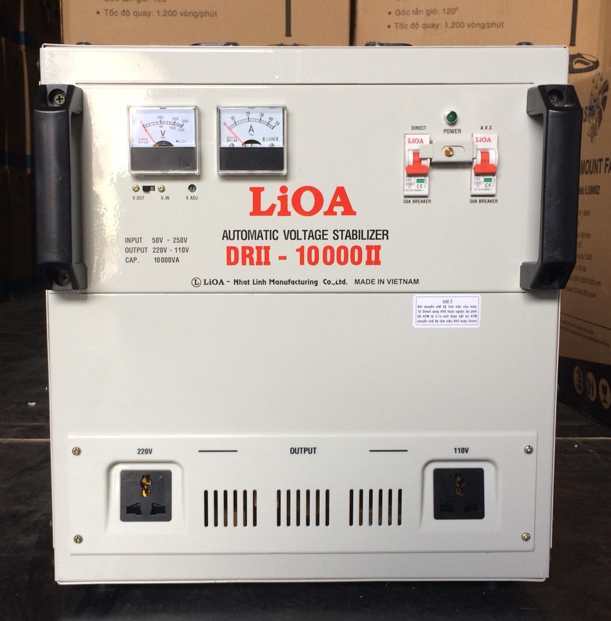 Ổn Áp LiOA 1 Pha DRII 10KVA NEW 2020 (50-250v) - Đồng hồ điện tử
