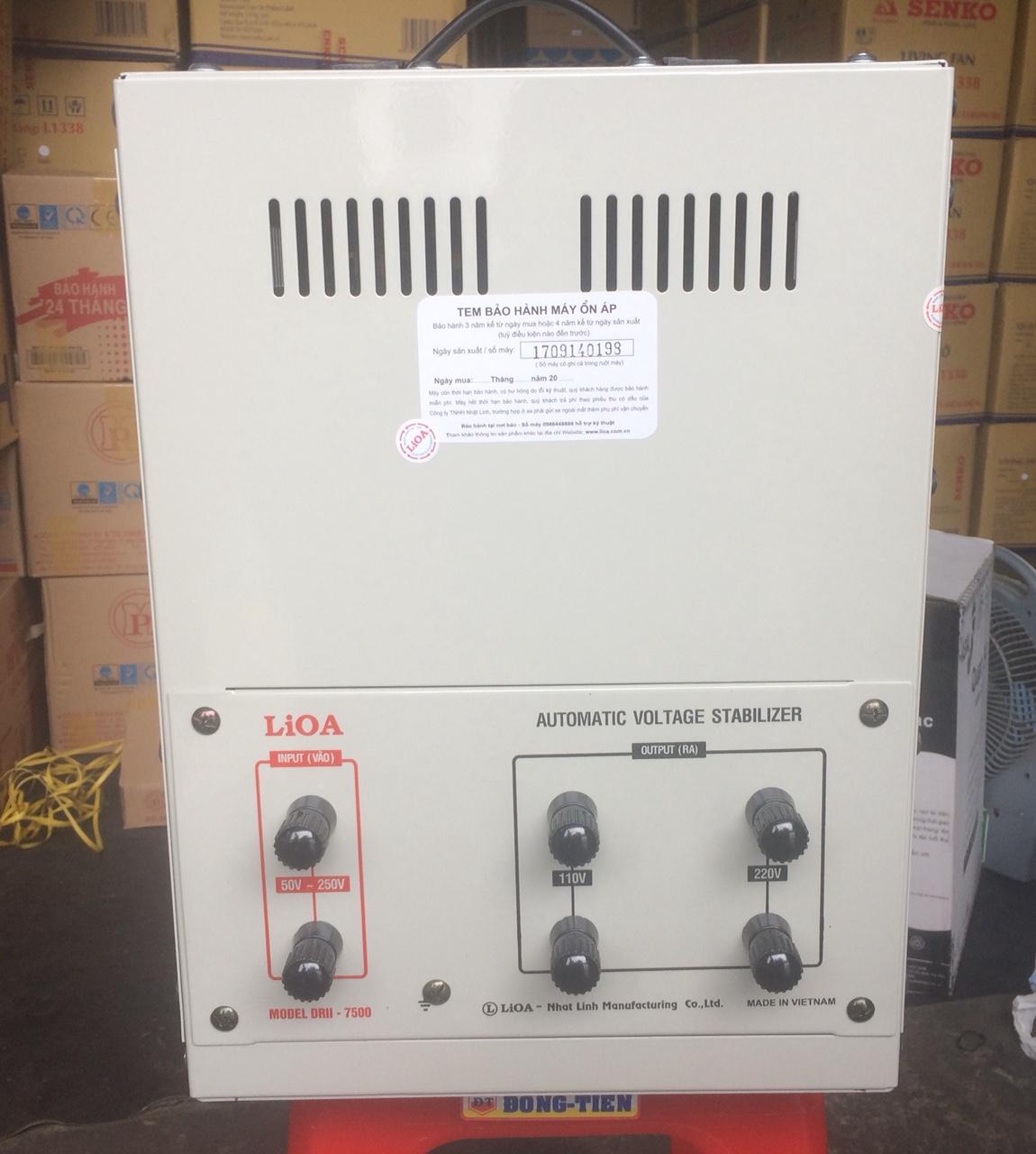 Ổn Áp LiOA 1 Pha DRII 7.5KVA NEW 2020 (50-250v) - Đồng hồ điện tử