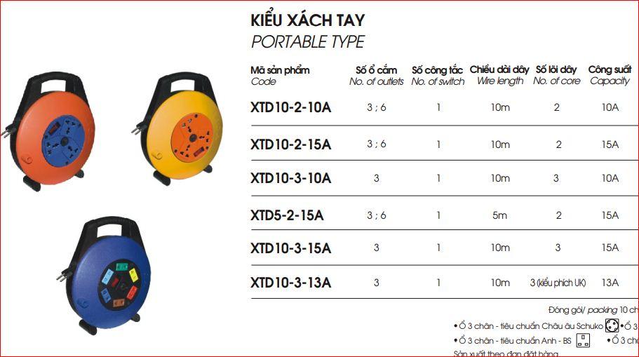 Ổ Cắm Kéo Dài Quay Tay Kiểu Xách Tay XTD10-2-10A