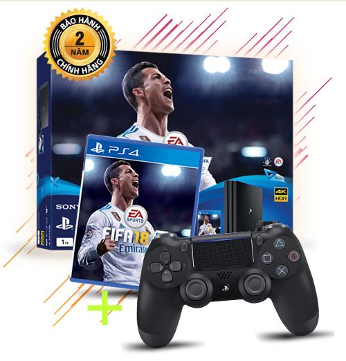 Máy chơi game PS4 PRO 1Tb + 02 tay + FIFA 18 (Tặng quà trị giá 2t5)