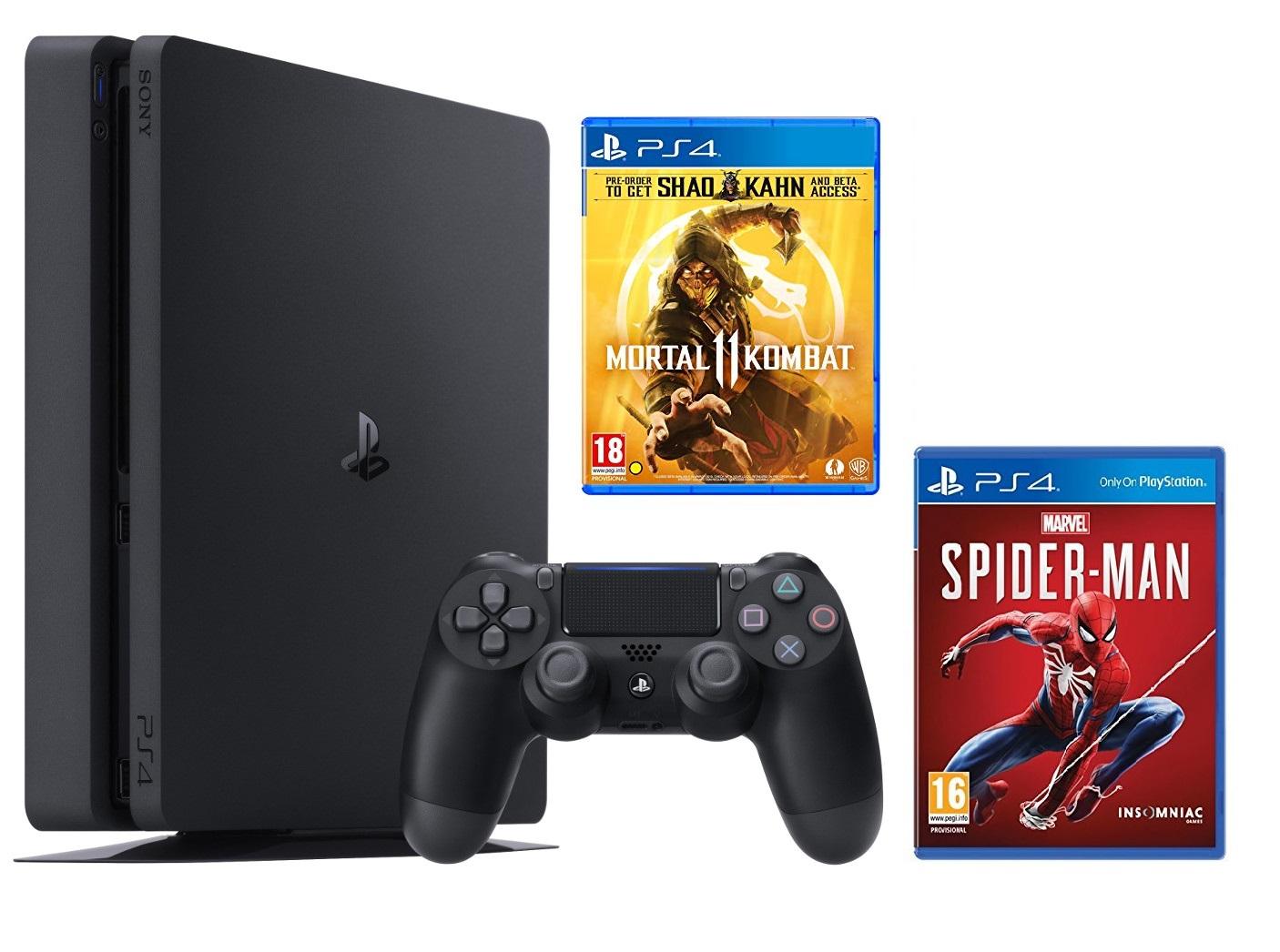 Máy PS4 Slim 1TB + 2 game MK11 và Spider Man