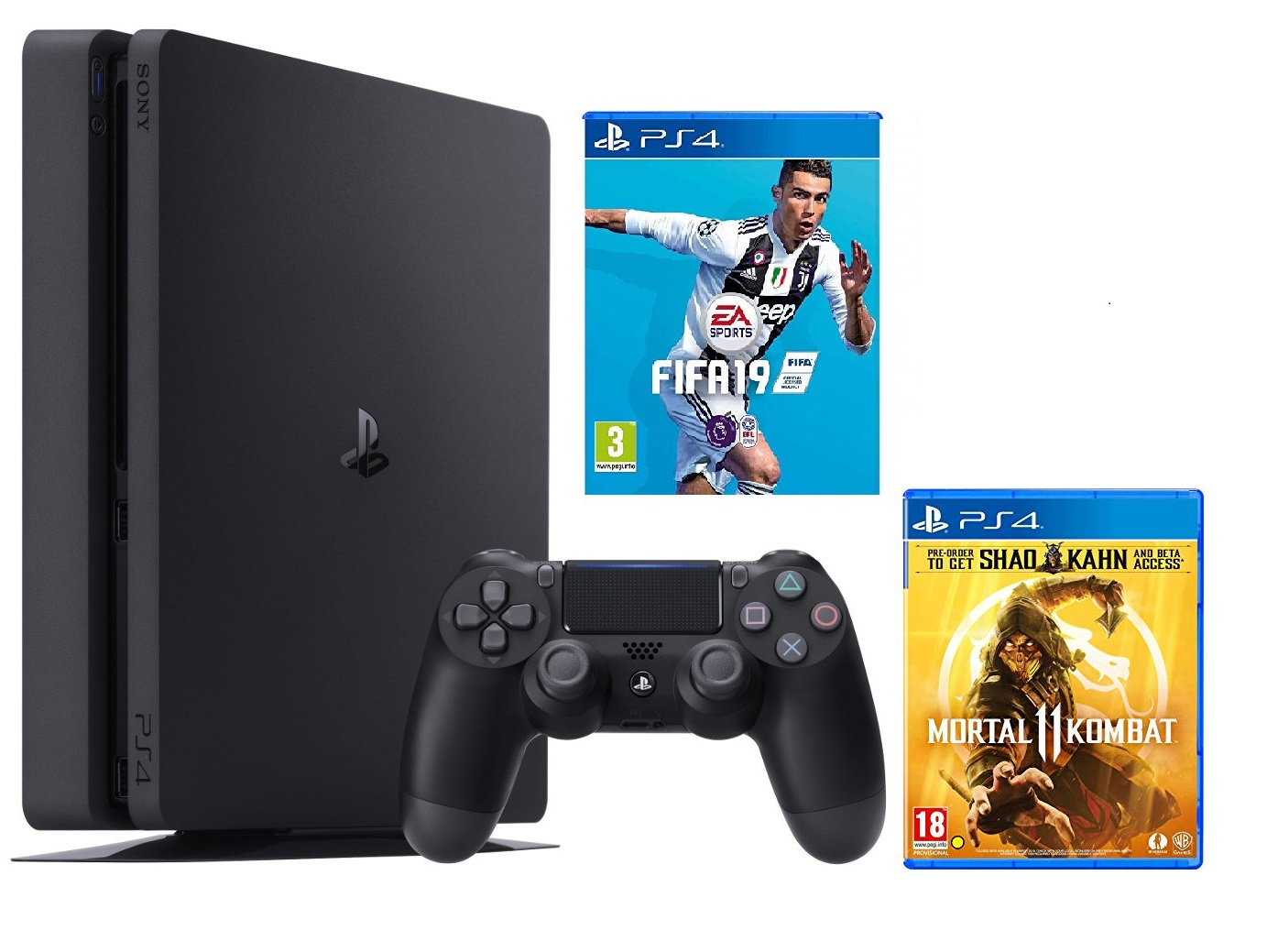 Máy PS4 Slim 1TB + 2 game MK11 và Fifa19