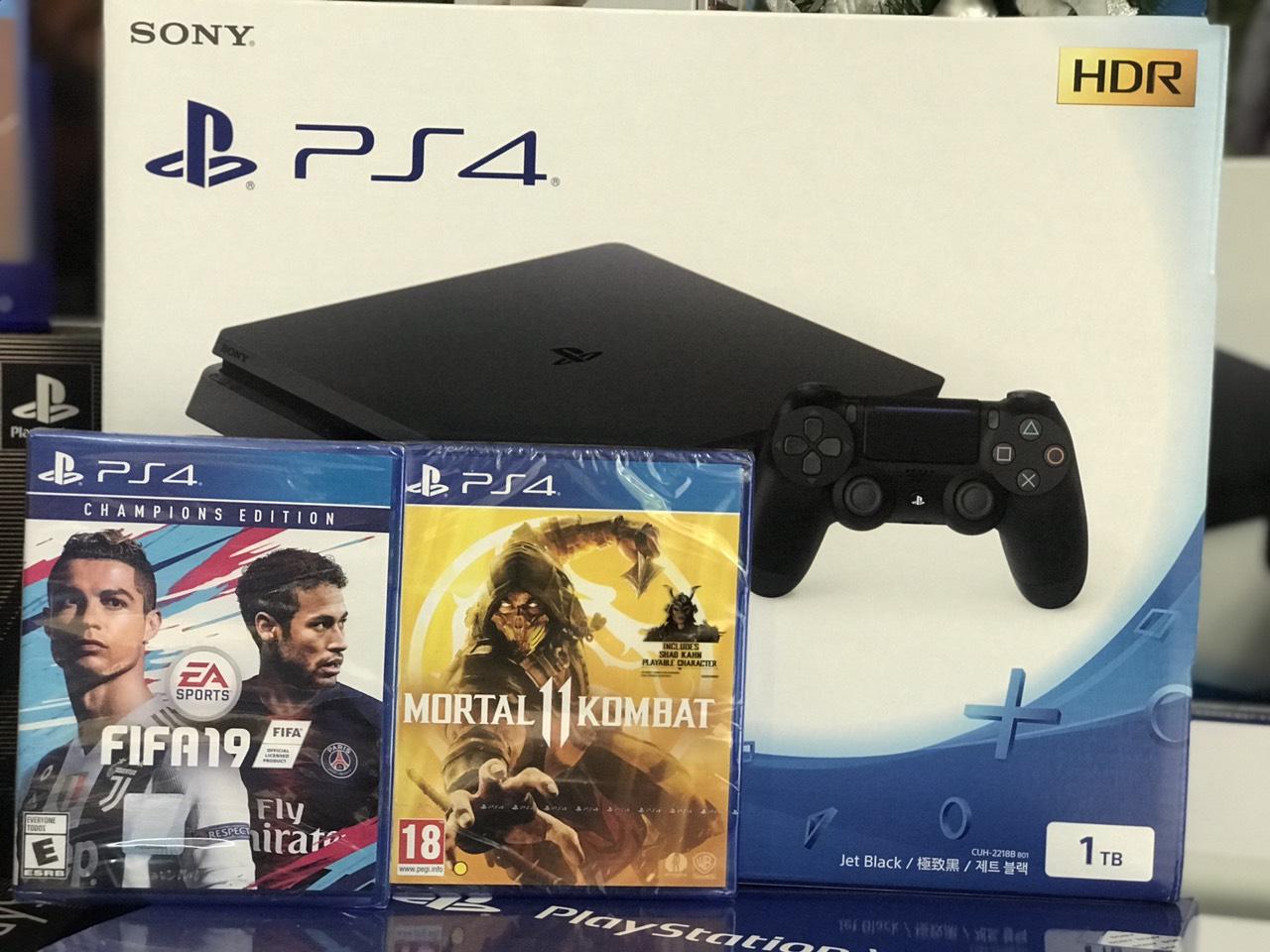 Máy PS4 Slim 1TB + FiFa 19 Champions + Mortal Kombat 11