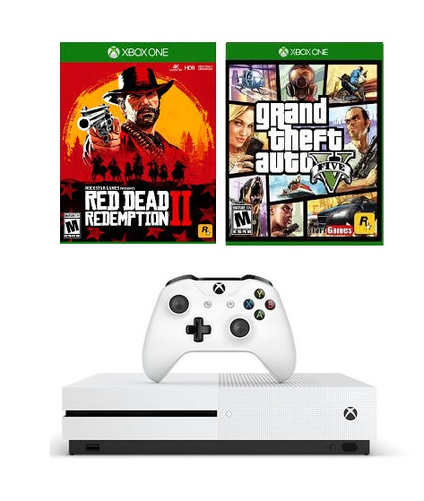Máy Xbox One S 4K HDR 500Gb đĩa GTA V và Red Dead Redemption 2
