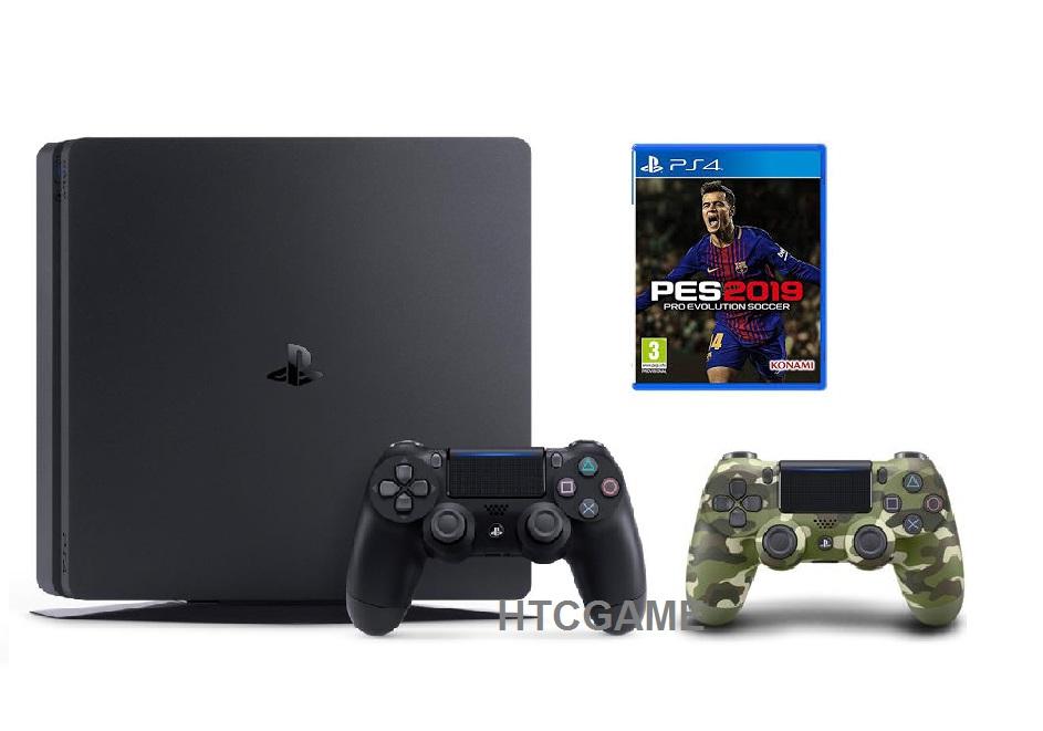 PS4 Slim 1TB + 2 Tay + đĩa Game PES2019