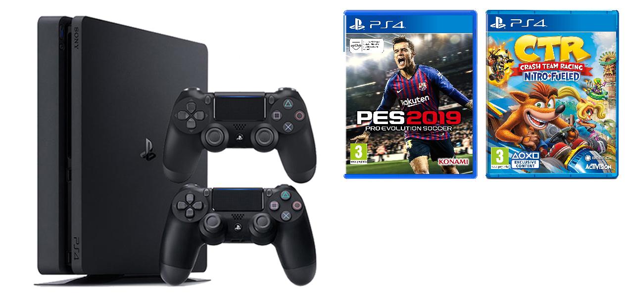 Máy PS4 Slim + 2 Tay cầm + PES 2019 + CTR Nitro-Fueled