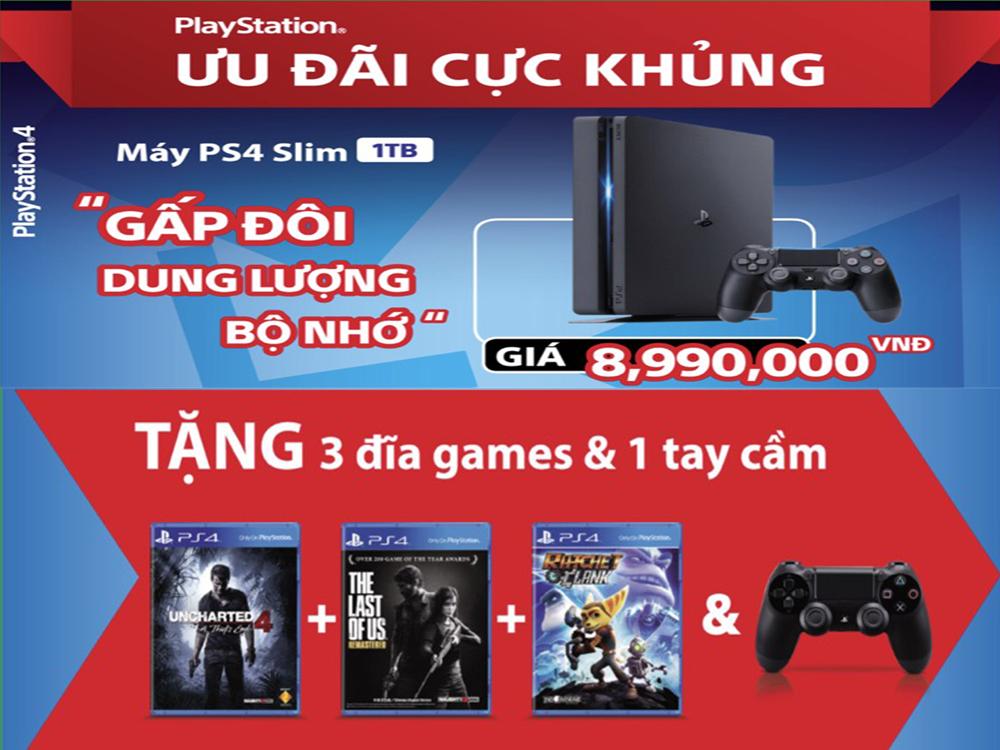 Máy PS4 Slim 1TB + 2 tay + 3 đĩa game