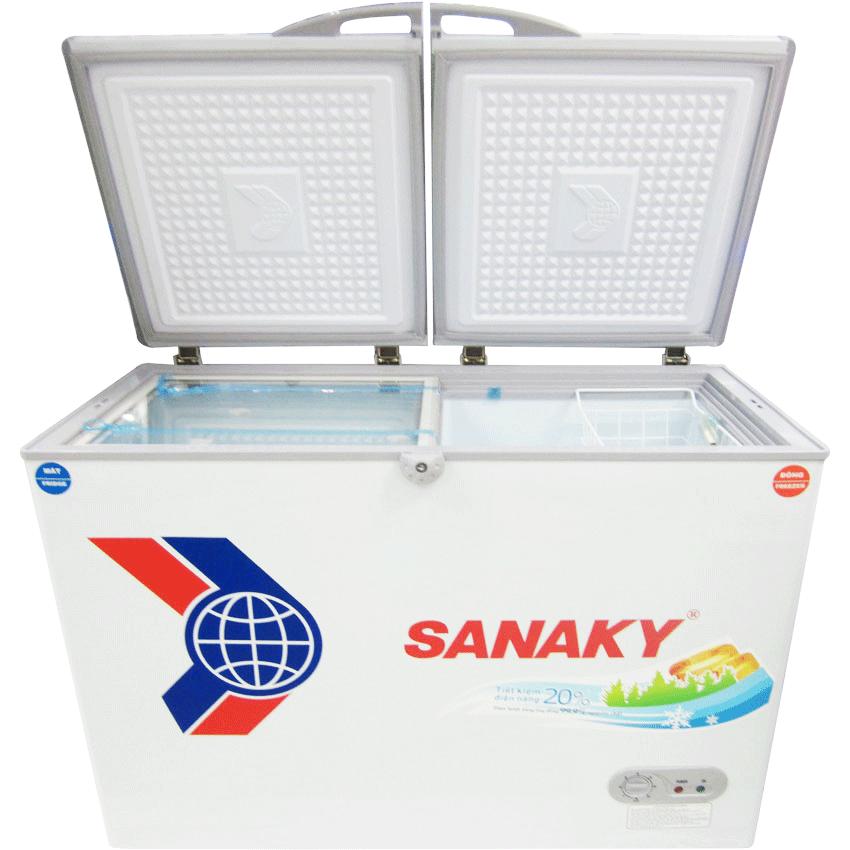 Tủ đông dàn đồng Sanaky VH-2599W1 loại 2 ngăn đông/mát, 2 cánh tồn tại