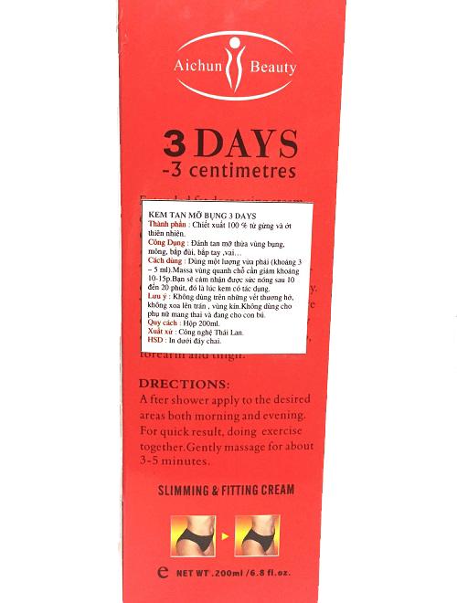 KEM TAN MỠ BỤNG 3 DAYS