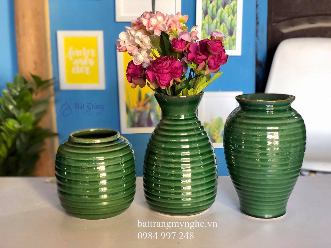 Bộ ba lọ hoa anh em mẫu 2 men xanh lá cây