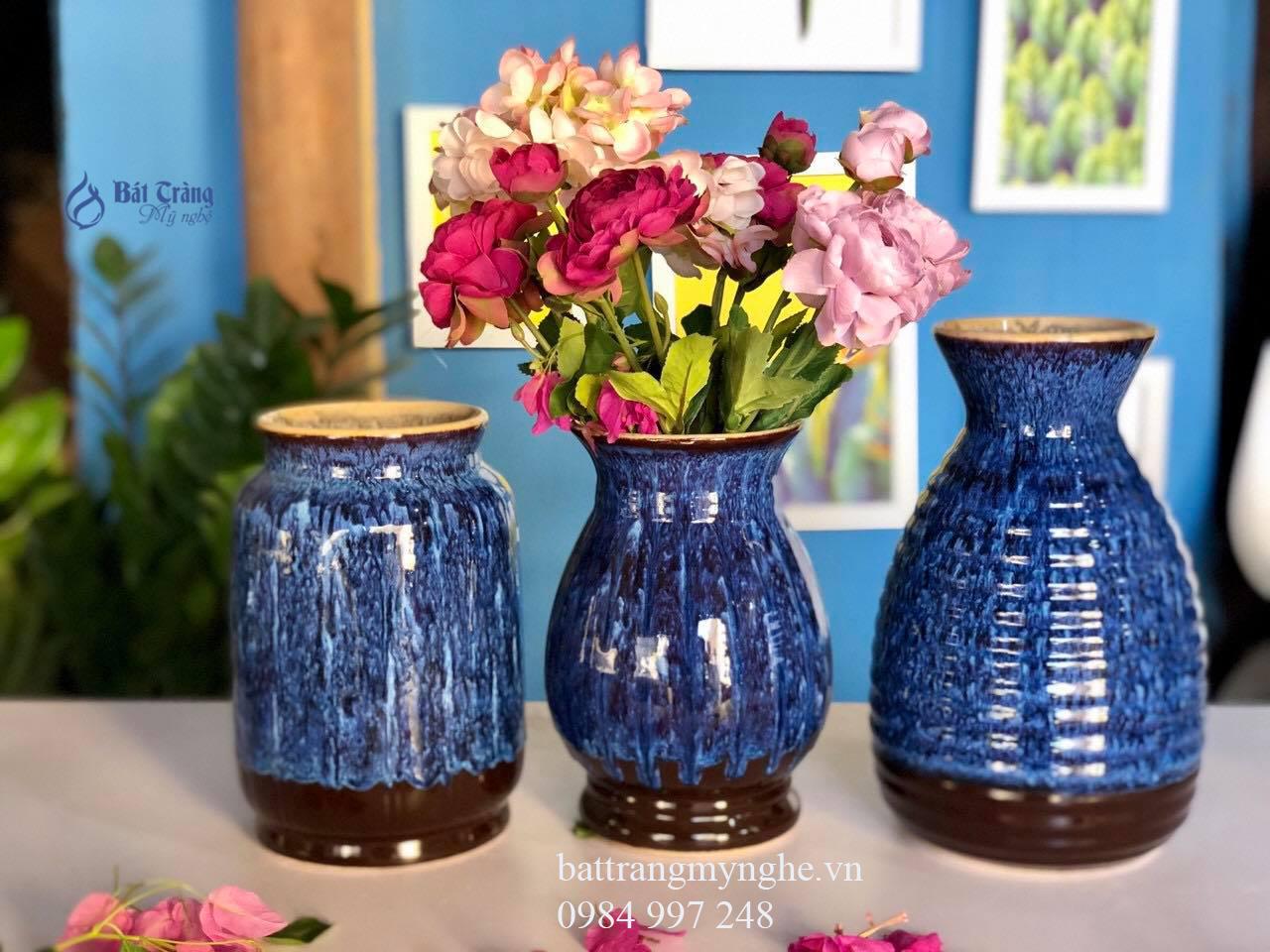 Bộ ba lọ hoa anh em men xanh đậm