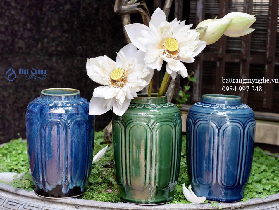 Bộ ba lọ hoa dáng trụ cắm hoa sen men xanh