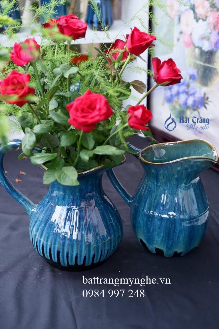Bộ đôi lọ hoa bình sữa men xanh