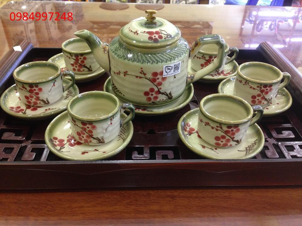 Ấm trà hoa đào quai vuông
