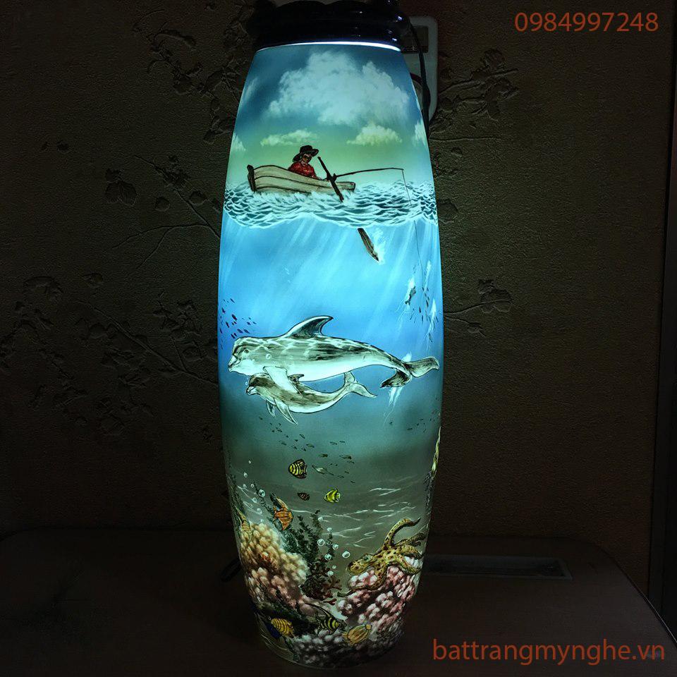 Đèn sứ thấu quang vẽ biển Vũng Áng