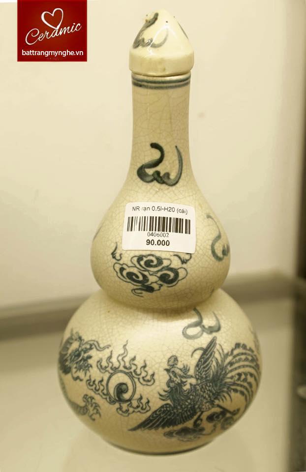 Nậm rượu mini Rồng - men rạn trơn- cao 25 cm
