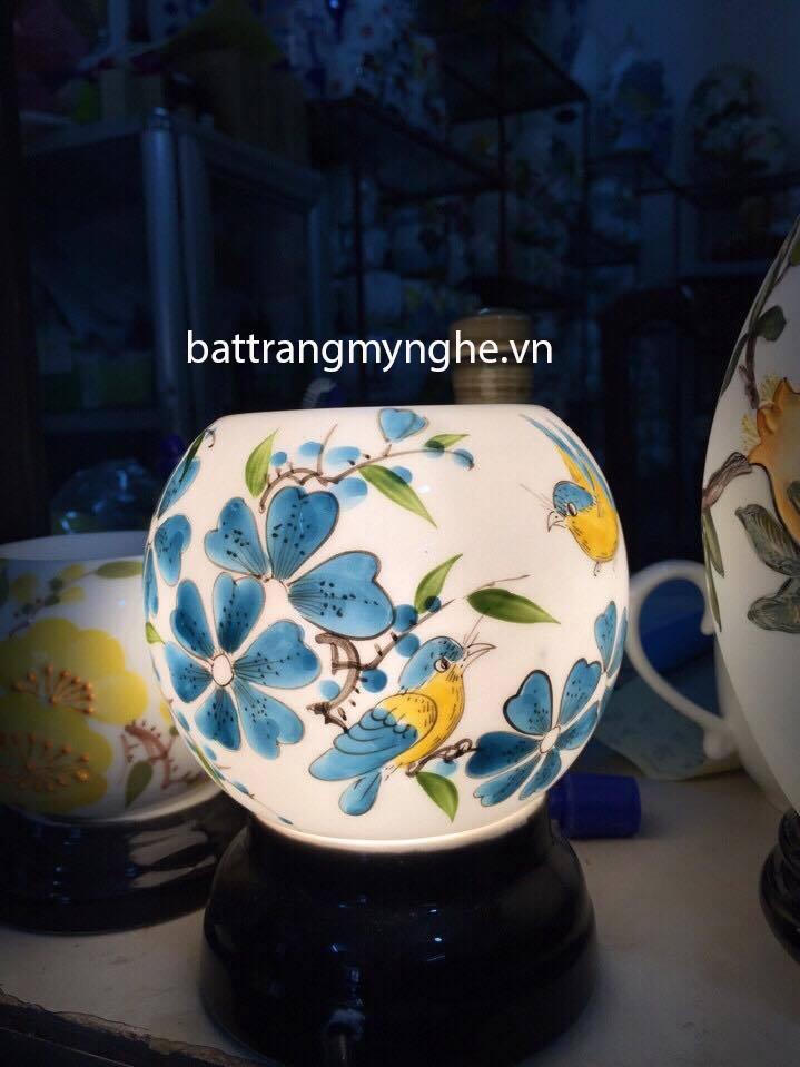 Đèn Xông Tinh Dầu Sứ Thấu Quang vẽ chim và hoa xanh
